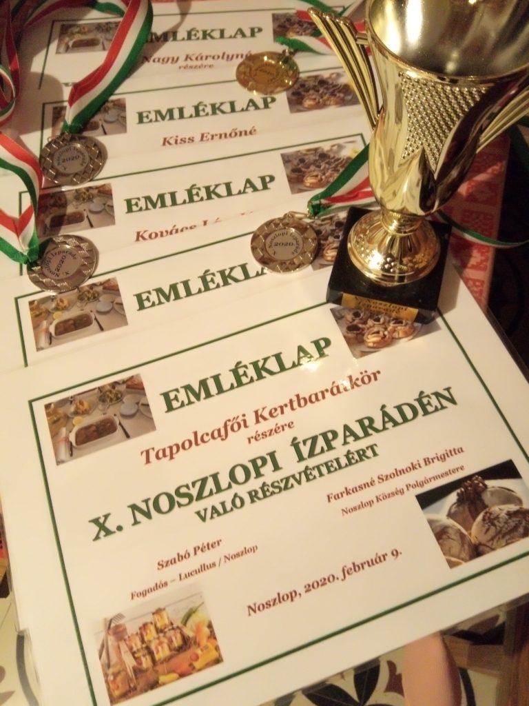 X.Noszlopi Ízparádén sikeresen szerepeltek a keretbaráttagok. Eredmény: 7 arany, 4 ezüst. /2020. 02. 09./